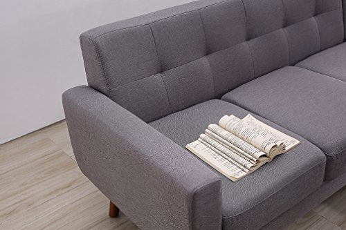 "Container Furniture Direct S0121R-2PC Andy Linen Upholstered Midcentury Modern Right-Sided Sectional Sofa, 69.29"", Grey"