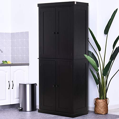 HOMCOM Traditional Farmhouse Freestanding Cupboard Kitchen Pantry with Two Storage Areas, Adjustable Shelving, Black