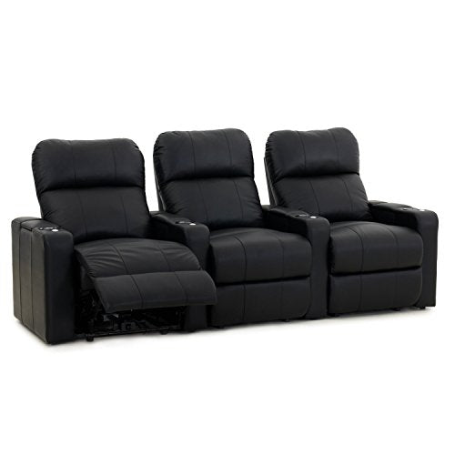 Octane Turbo XL700 Row of 3 Seats, Straight Row in Black Bonded Leather with Manual Recline