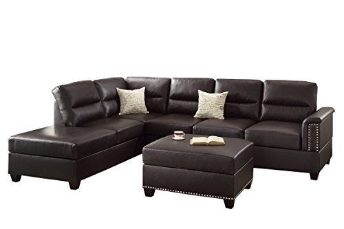 3Pcs Modern Espresso Bonded Leather Reversible Sofa Chaise Ottoman Set with Double Tiered Pillow Cushion Back Support