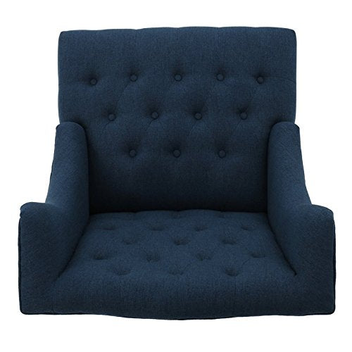 Delux Living Room Wingback Arm Chair, Medium Firm Seating Firmness, Wrapped in Diamond Tufted Upholstery, Brings Chic Style to Any Space, Sturdy Wood Construction, Dark Blue + Expert Guide