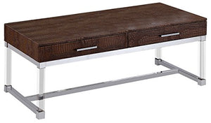 247SHOPATHOME IDF-4380BR-C Krystal Coffee Table, Brown