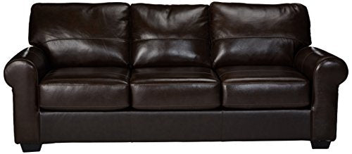 Ashley Furniture Signature Design - Canterelli Contemporary Leather Sofa Sleeper - Queen Size - Chestnut