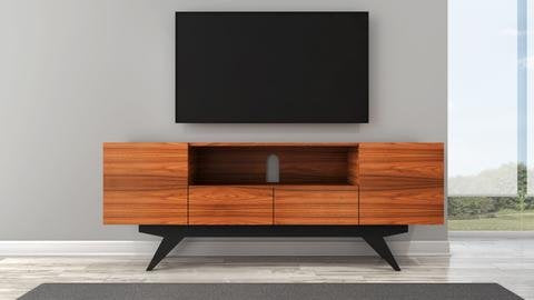 Furnitech Mid-Century Modern TV Console in Iron Wood