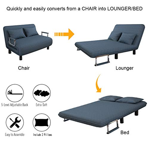 Convertible Sofa Bed, Foldable Sofa Chair with Armrest, Sleeper Couch Sofa Loveseat Fold Out Bed, Down Recliner Couch Two Sofa Bed, Lazy Sofa with Cushion, Folding 47x23.6x31 Inch