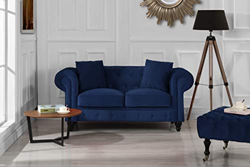 Furniture Classic Modern Scroll Arm Velvet Chesterfield Love Seat Sofa (Blue)