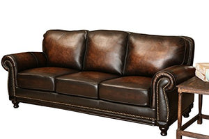 Abbyson Barclay Hand Rubbed Leather Sofa