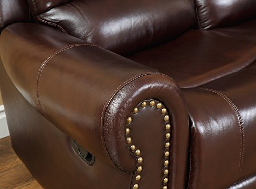 Abbyson Mercer Reclining Italian Leather Loveseat, Burgundy