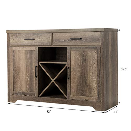 Giantex Buffet Sideboard Large Storage Cabinet with 2 Drawers 2 Cabinets Wine Shelf, Home Kitchen and Dining Room Furniture Console Table (Natural)