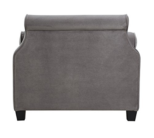 Jennifer Taylor Home, Sofa Bed, Opal Grey, Hand Tufted, Hand Painted and Hand Rub Finished Wooden Legs