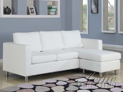 ACME 15068 Kemen Reversible Chaise Sectional with White Bycast PU