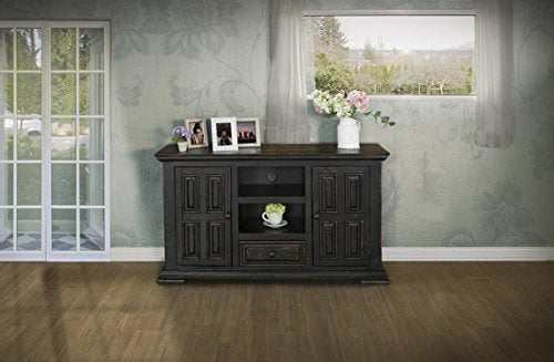Rustic Distressed Solid Wood 55 Inch Tv Stand Entertainment Console - Black