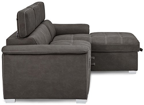 Homelegance Ferriday Modern Convertible / Adjustable Pull-Out Sofa Bed with Lift-Up Storage Chaise, Taupe