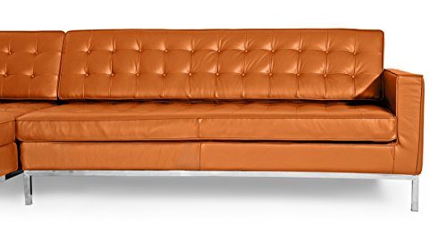 Kardiel Florence 100% Full Premium Knoll Style Left Sectional Sofa, Caramel Leather