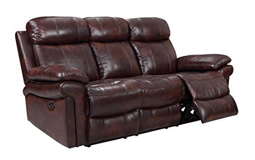 Oliver Pierce OP0034 Hudson Reclining Leather Sofa, Brown