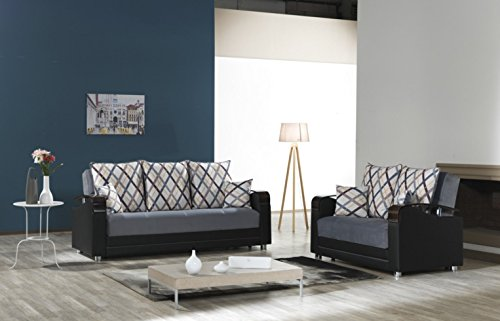 Oscar Functional Futon Living Room Set. Sofa Bed Sleeper with Storage.(Gray)