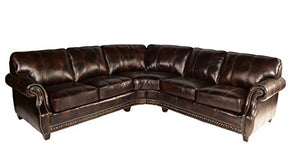 Lazzaro Leather WH-1317-31-32-9011B Anna Collection Leather Sofa Sectional, Buckeye