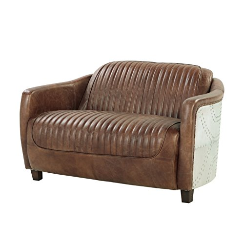 ACME Brancaster Retro Brown Top Grain Leather and Aluminum Loveseat