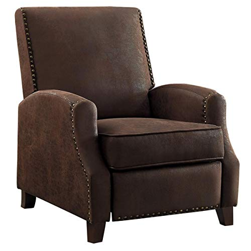 Wagen Push Back Recliner Chair in Brown Fabric
