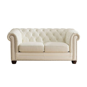 Hydeline Monaco 100% Leather Loveseat, Pearl White
