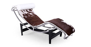 Kardiel Gravity Chaise Lounge, Brown & White Cowhide, White Pillow