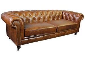 Larson Top Grain Vintage Leather Chesterfield Sofa - Light Brown