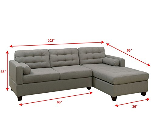 2Pcs Modern Grey Linen-Like Fabric Reversible Sectional Sofa Chaise Set with Accent Tufting
