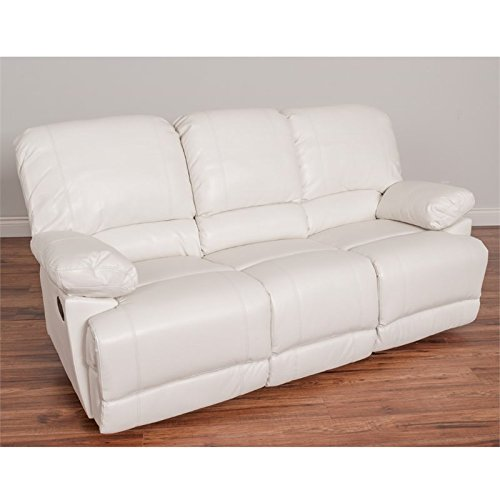 CorLiving LZY-311-S Lea Leather Reclining Sofa White