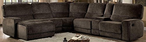 Homelegance Shreveport 6-Piece Sectional with Two Reclining Chairs and One Left Side Reclining Chaise Fabric Chenille, Brown