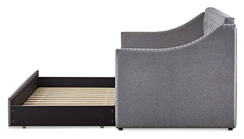 Homelegance Sleigh Daybed with Tufted Back Rest and Nail Head Accent, Twin, Grey