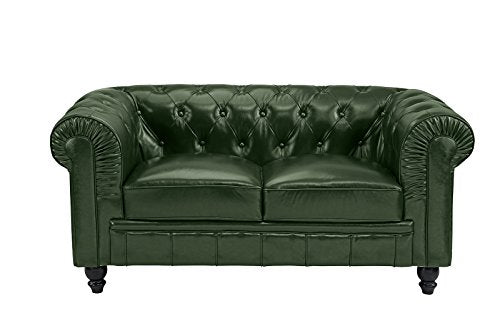 Divano Roma Classic Scroll Arm Real Leather Match Chesterfield Love Seat (Green)