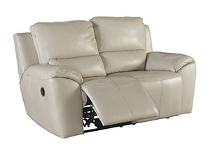 Ashley Furniture Signature Design - Reclining Loveseat - Sleek Contemporary Couch - Cream