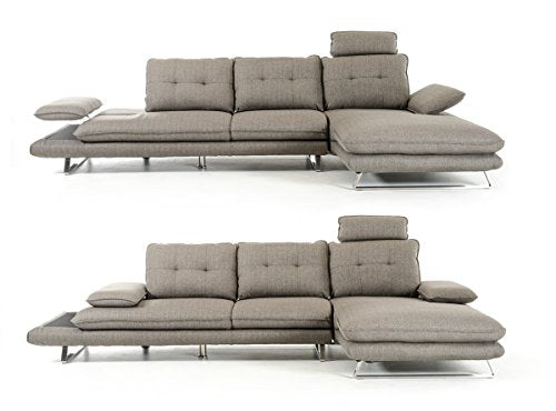 Divani Casa Porter Modern Grey Fabric Sectional Sofa Grey/Grey/Right Facing Chaise
