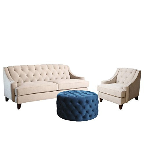 3 Piece Living Room Set with Sofa Accent Chair and Ottoman