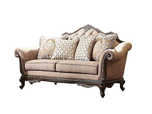 Bautistia Italian Country Love Seat in Fabric - Brown