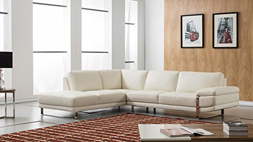 "American Eagle Furniture EK-L025R-W Marina Modern Italian Leather Left Facing Sectional, 114"", White"