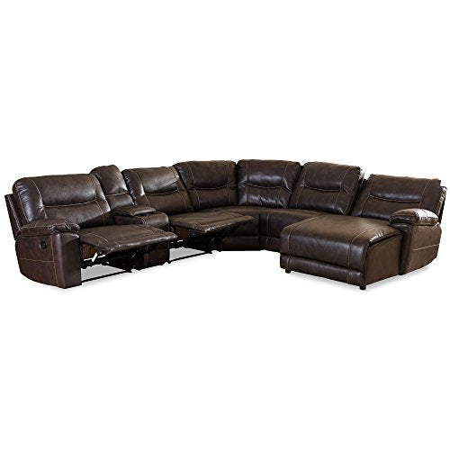 Baxton Studio Gilles Modern & Contemporary Bonded Leather 6 Piece Sectional with Recliners Corner Lounge Suite, Brown