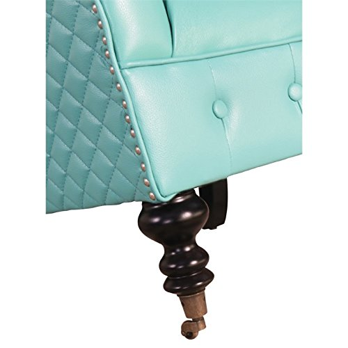 Abbyson Living Elin Top Grain Leather Tufted Chair in Aqua