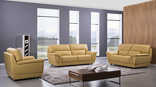 "American Eagle Furniture EK099-YO-LS Bell Mid-Century Modern Italian Leather Living Room Loveseat, 73"", Yellow"