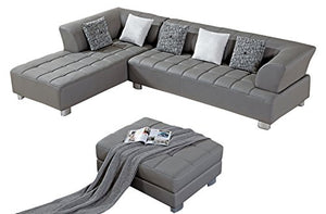 American Eagle Furniture Aventura Collection Modern Bonded Leather Tufted Sectional Sofa With Chaise on Left and Ottoman, Gray