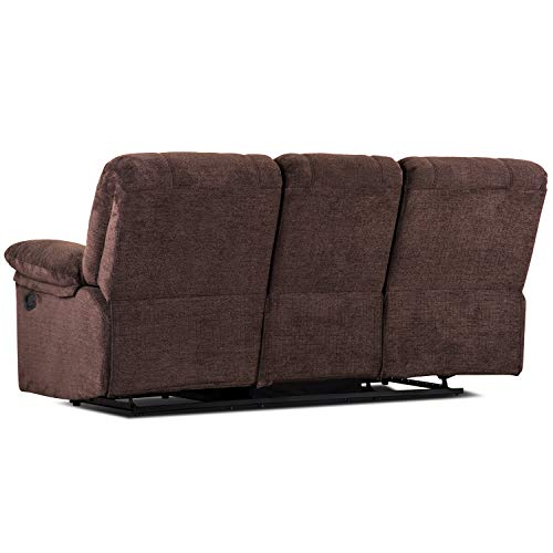 Recliner Couch Sofa Coffee Brown,JULYFOX 79.5 inch Wide Living Room Couch Sofa Furniture with 2 Recliner Seat Tufted Fabric Sofa Bonded Oversize Office Lounge Sofa