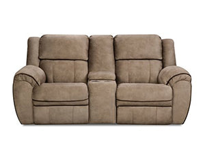 Transitional Double Motion Reclining Loveseat Manual Sofa Wood Frame Spring Seats Pillowtop Arms Velvet Upholstery Fleece Back Center Storage Console with 2 Cup Holders Living Room Furniture Décor
