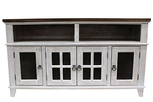 Gaines Rustic Style Solid Wood TV Stand - Distressed White
