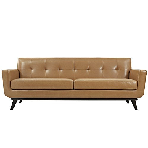 Modway Engage Mid-Century Modern Upholstered Leather Sofa In Tan