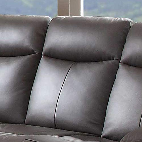 AC Pacific Ryker Contemporary Leather 3-Piece Sofa Set with 5 Recliners Brown