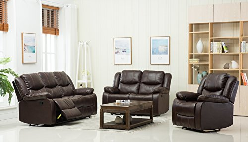 "Container Furniture Direct S6039-S Royal Albert Faux Leather Upholstered Gliding Reclining Sofa, 81"", Brown"