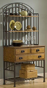 Home Styles Oak Hill Distressed Oak Bakers Rack with Hutch, Drawers, and Antiqued Bronze Finish