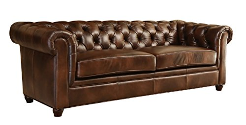 Abbyson Foyer Premium Italian Leather Sofa, Brown