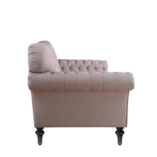 Divano Roma Furniture Classic Chesterfield Tufted Linen Fabric Victorian Sofa with Scroll Arms (Light Grey)