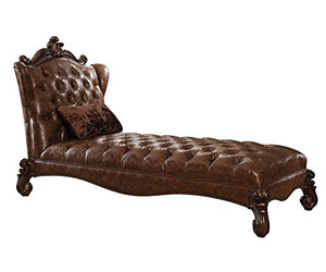 ACME Versailles Light Brown Faux Leather Chaise with 1 Pillow